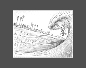 """Shorebreak"" pencil sketch print."